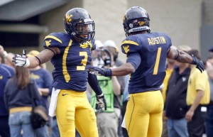 West Virginia wide receivers Stedman Bailey and Tavon Austin (Source: Justin K. Aller/Getty Images North America)